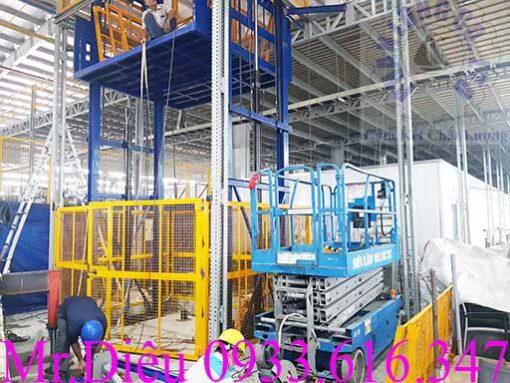 lắp đặt thang nâng thủy lực 2000kg